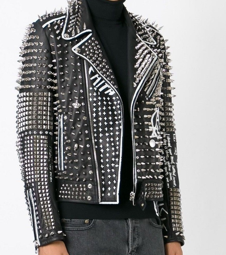 Handmade Men's Real Leather Studded Fashion Jacket Silver Stud Jackets