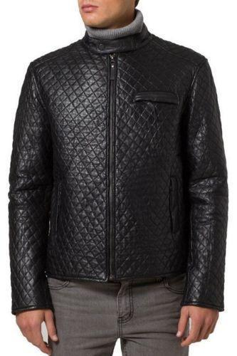 Handmade Men's Quilted Jacket Fashion Leather Jacket Real Slim fit Men Leather Jacket