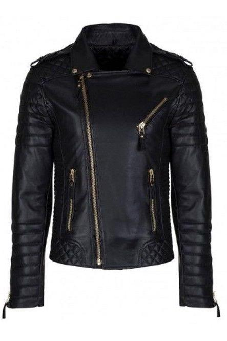 Handmade Men's Black Bespoke Fashion Leather Jacket Real Quilted Men Leather Jacket