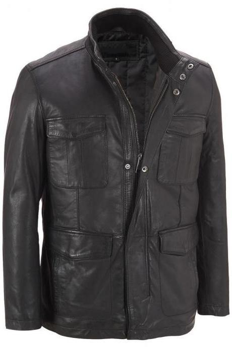 Handmade Men's Four Pocket Genuine Leather Jacket