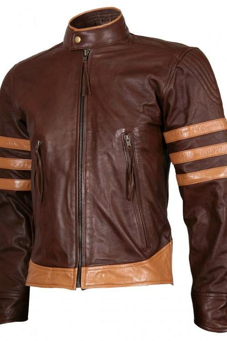 Handmade Men's Wolverine Origins Biker Brown Vintage X-Men Leather Jacket