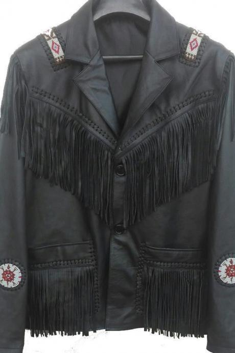Handmade Men's Western Culture Cowboy Leather Jacket Beads Patches Black Fringe kaclets