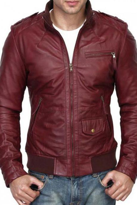 Handmade Men's Maroon Color Slim Fit Leather Jacket. Men Fashion Biker Leather Jacket