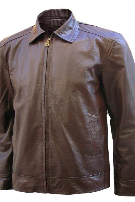 Handmade Men's Michael Fassbender Brown X-men Leather Jacket