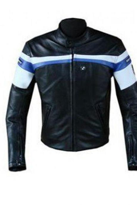 BMW Handmade Motorcycle Leather Jacket Black White Blue For Men's