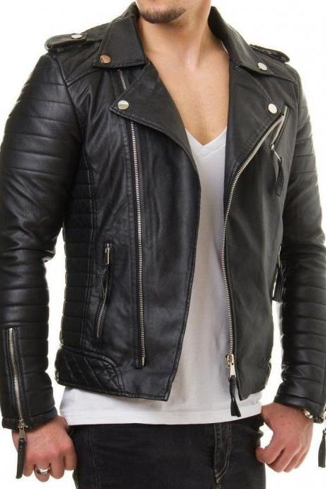 Handmade Men's Black Bespoke Cowhide Jacket Real Leather Jacket genuine Leather