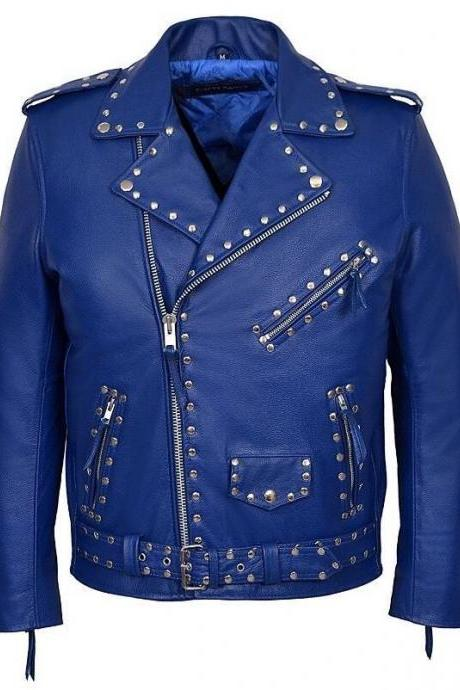 HANDMADE MEN'S BRANDO STUD SLIM FIT BLUE DESIGNER REAL COWHIDE CLASSIC LEATHER JACKET
