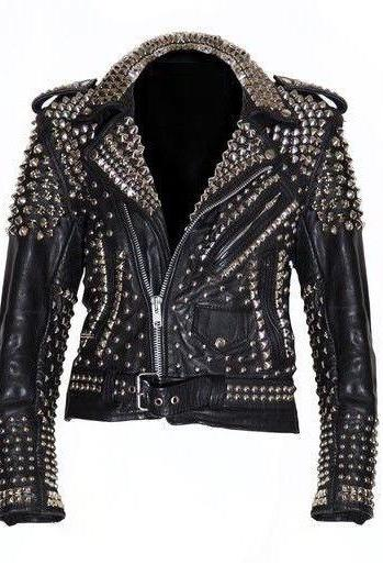 Handmade Men's Studded Leather Jacket Silver Stud Brando Biker Zipper Sleeves