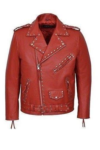 Handmade Men's Stud Brando Red Real hide smart fitting Leather Biker Luxury style Jacket