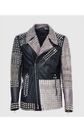 Handmade Men's Philipp Plein Multicolor Full Studded Leather jacket Multi Color Silver Stud
