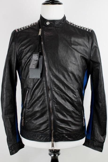 Handmade Men's Black Blue Studded Leather Asymmetrical Moto Cafe Jacket Men Silver Stud Fashion