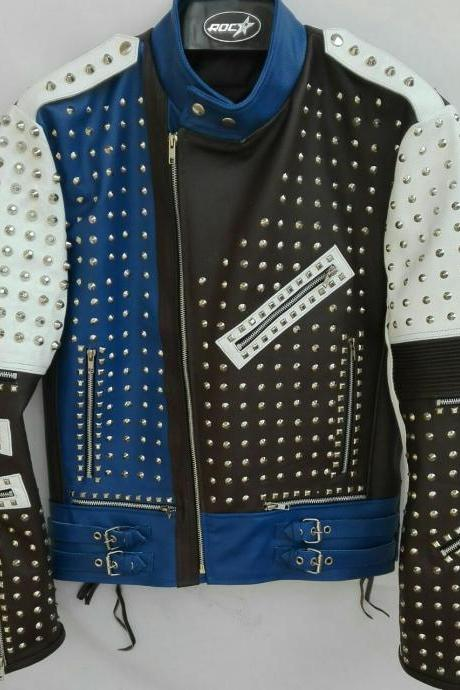 HANDMADE MEN'S FASHION JACKET REAL LEATHER SILVER STUD STYLE JACKETS