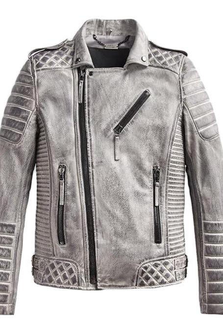Handmade Men's Leather Jacket Smokey Gray Unique Style Quilted Slim Fit Leather Jacket