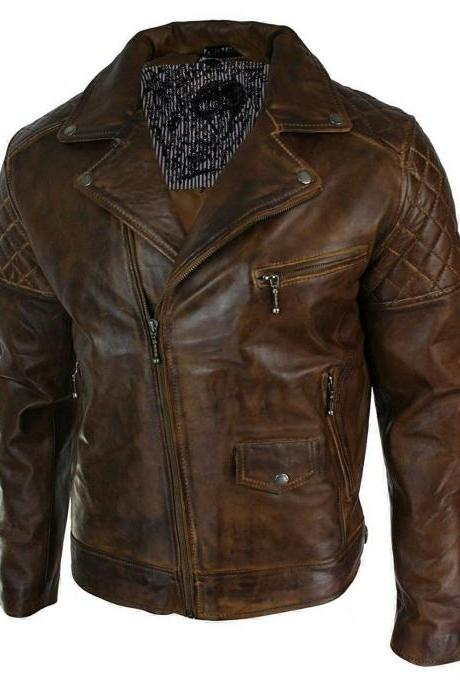 Handmade Men's Leather Jacket Quilted Vintage Style Erect Collar Moto Racer Brown