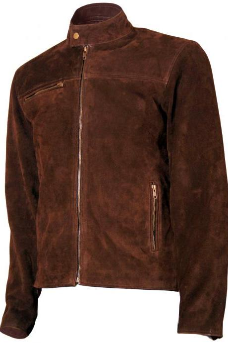 Handmade Men's Tom Cruise Suede Mission Impossible Leather Jacket
