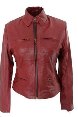 Handmade Leather Skin Women Maroon Premium Genuine Leather Jacket