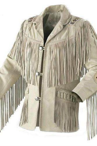 Handmade Men's Traditional Cowboy Western Leather Jacket coat With Fringe Bone and Beads