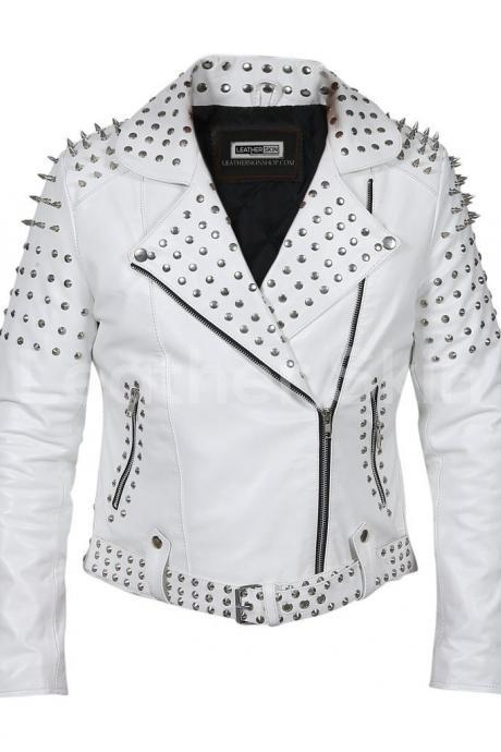 Handmade Women's White Leather Jacket with Cone Tree Spikes
