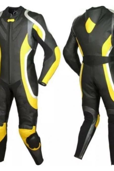 Handmade Men's Black Yellow Biker Suit Speed Hump Pad Real Leather Jacket Pant safety pads