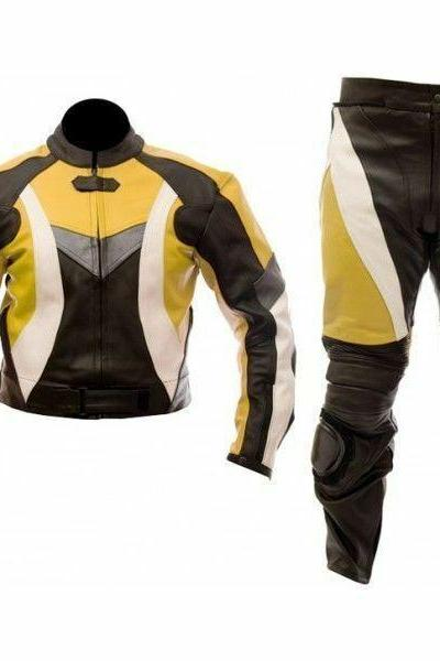 Handmade Men's Black Yellow Motorcycle Suit With White Linings Genuine Leather Jacket Pant