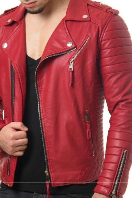 Handmade Leather Motorcycle Slim-fit Jacket Real Lambskin Soft Red Leather