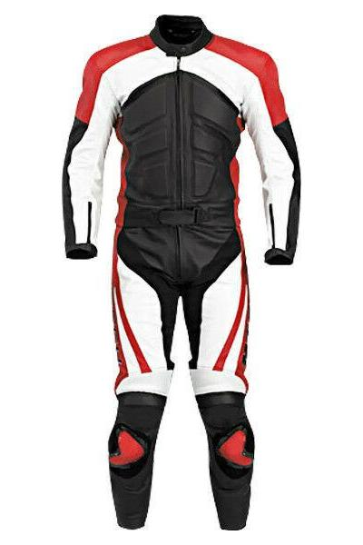 Handmade Men's Three Tone Black White Red Leather Jacket Pant Motorcycle Safety Pads Suit