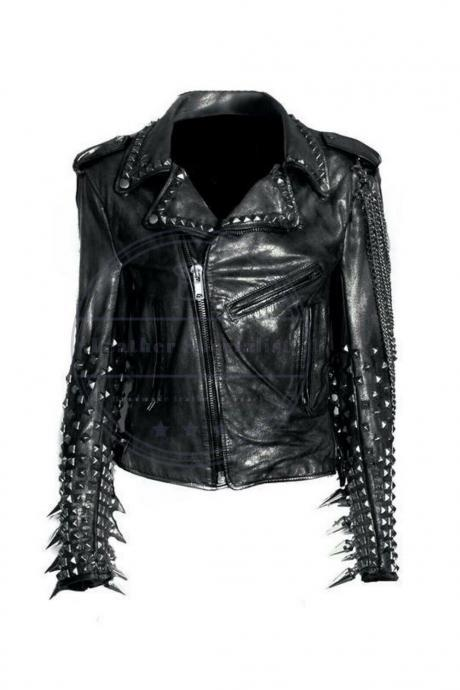 Handmade Men's Black Silver Studded Punk Long Spiked Chain Style Leather Jacket