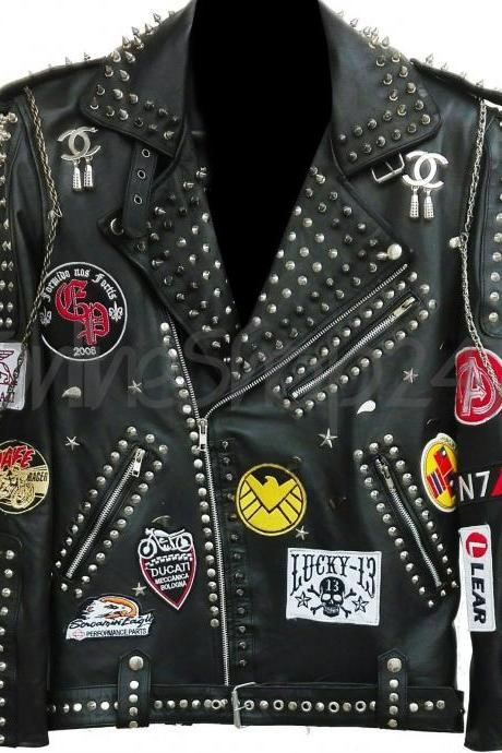 Handmade Men's Punk Rock Full Metal Spiked Studded Patches Chain Black Leather Jacket