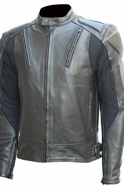 Handmade Men's Grey Motor Biker Front Zipper Handmade Genuine Leather Safety Pads Jacket
