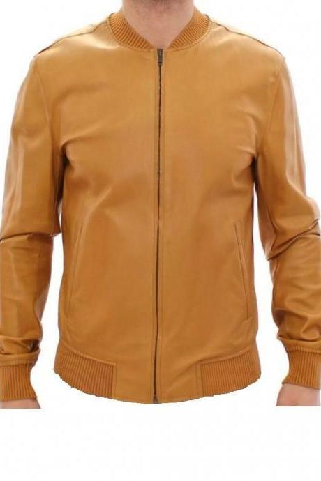 Men's Super Latest Fashion Buckskin Tan Goat Leather Bomber Biker Jacket