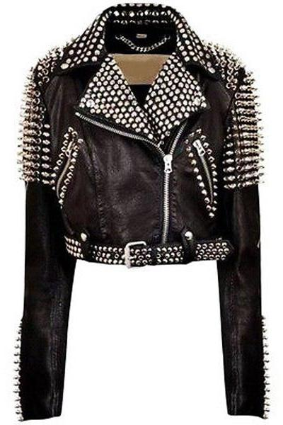 Handmade Women's Studded Black Leather Jacket