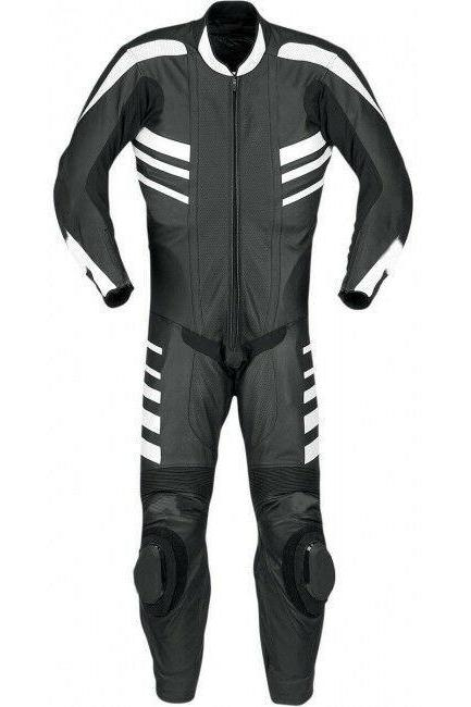 Handmade Men's Gray Motorbike Black White Stripes Real Leather Pant Suit With Safety Pads