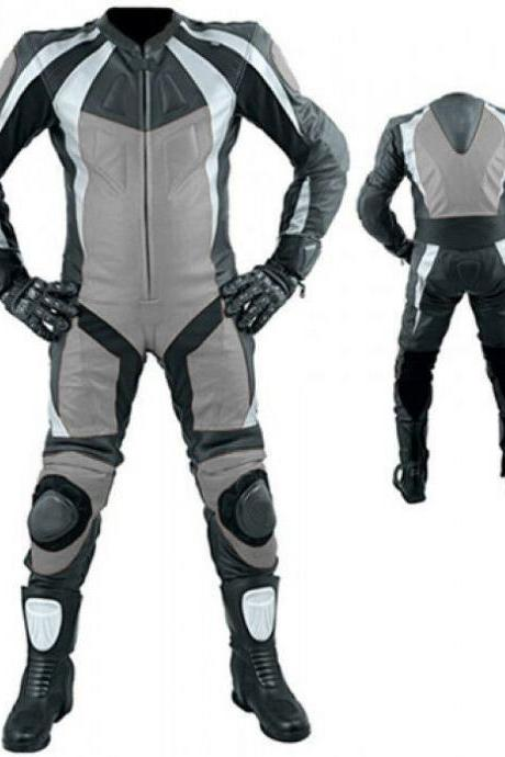 Handmade Men's Black White Gray Motorbike Real Leather Pant Suit With Safety Pad Speed Hump