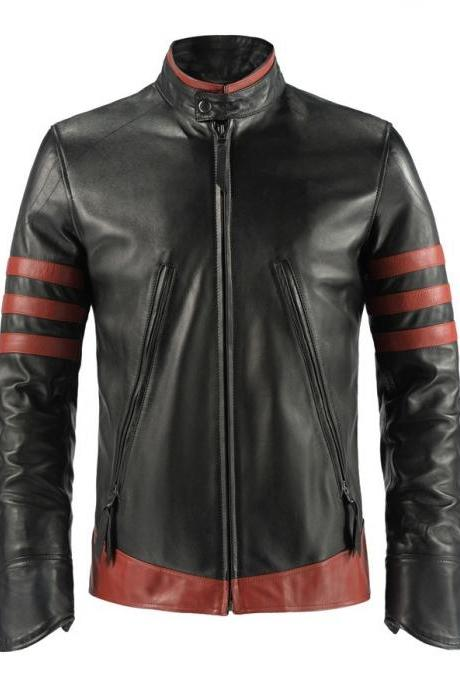 Handmade Men's Leather Jacket X-Men Origins