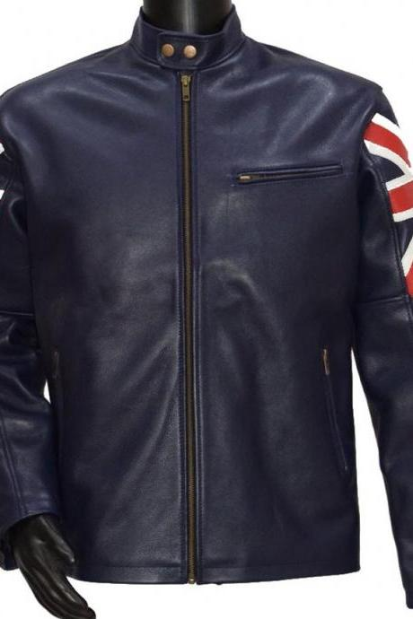 Handmade Men's UK Flag Navy Blue Biker Designer Real Cowhide Leather Jacket