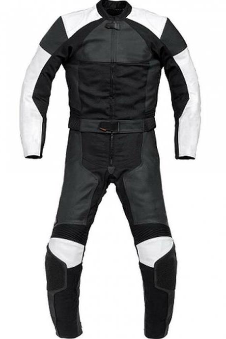 Handmade Men's Black White Contrast Motorcycle Genuine Leather Pant Suit With Safety Pads