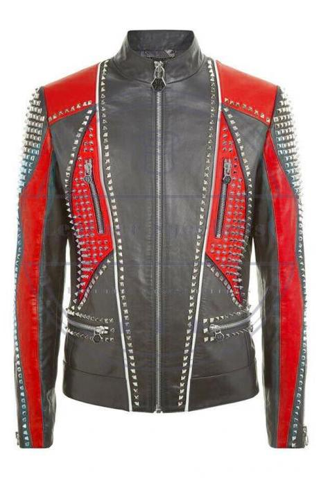 HANDMADE AGED BLACK & RED REAL STUDDED STYLE MOTOR BIKE LEATHER JACKET FOR MEN'S