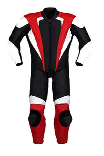 Handmade Men's Black White Red Colors Genuine Leather Motorcycle Pant Suit With Safety Pads