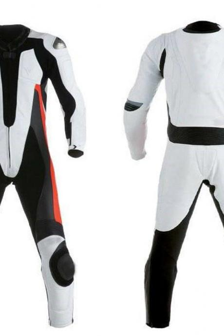 Handmade Men' Black White Real Leather Motorcycle Pant Suit With Safety Pads Speed Hump