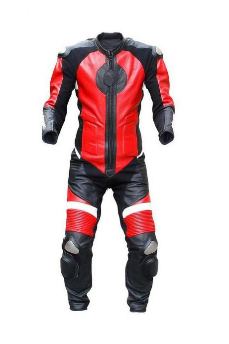 Handmade Men's Black Red Two Piece Motor Cycle Genuine Leather Pant Real Leather Suit