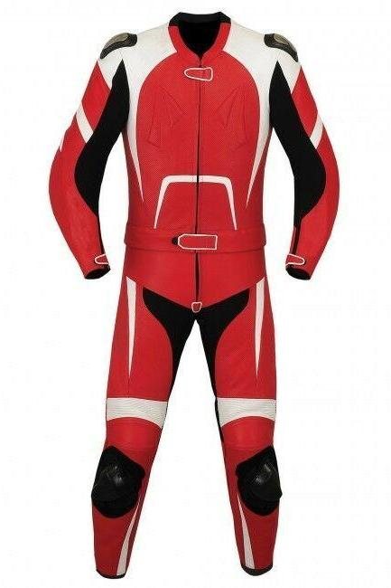 Handmade Men's Black Red White Two Piece Motorbike Real Leather Pant Suit With Safety Pads