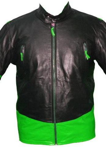 Wolverine Black Green Men Handcrafted Leather Jacket Premium COW Quality