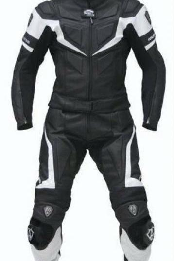 Handmade Men's Black White Cont Two Piece Real Leather Motorcycle Pant Suit With Safety Pad