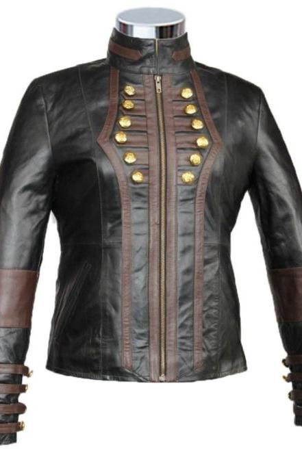 Handmade Leather Skin Women Black Military Leather Jacket with Brown Stripes