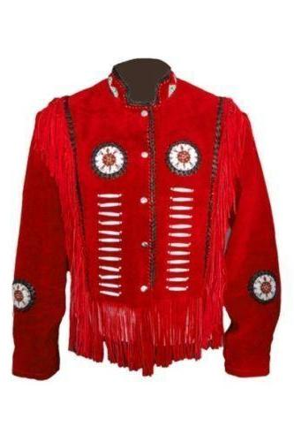 Handmade Men's Red Western Wear Leather Jacket Cowboy Fringe Suede Scully