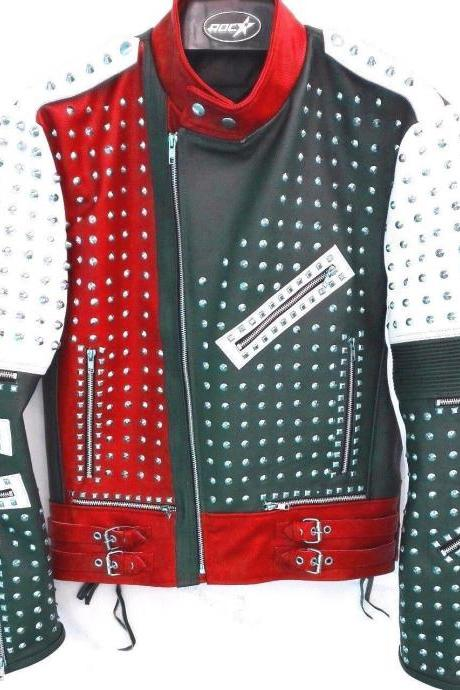 Handmade Men's Unique Design Full Studded Biker Leather Coat Jacket Multicolor