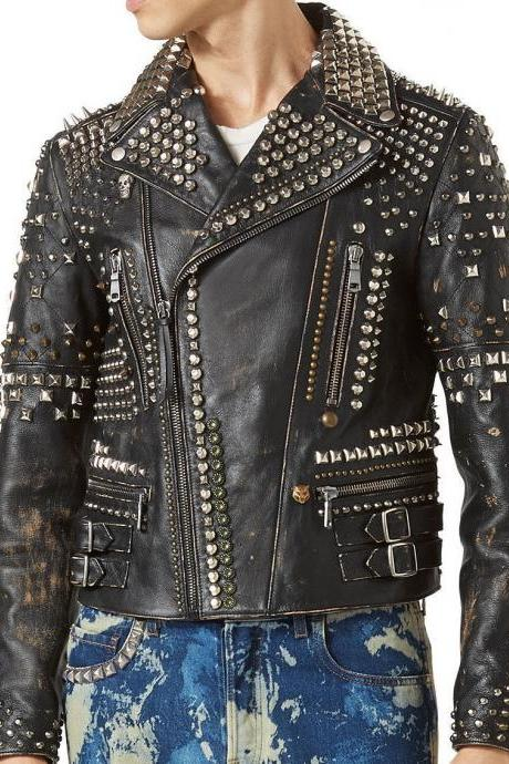 Handmade Men's Biker Studded Stylish Magnificent Leather Jacket Antique Brown Distressed