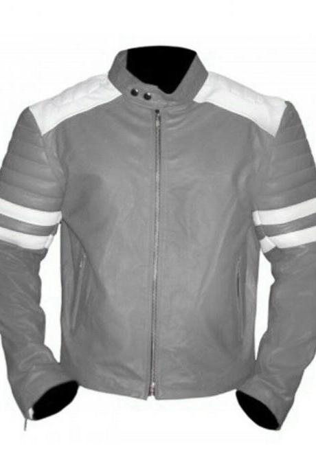 Handmade Men's Gray Motor Biker White Lines Quilted Arms Genuine Leather Safety Pads Jacket