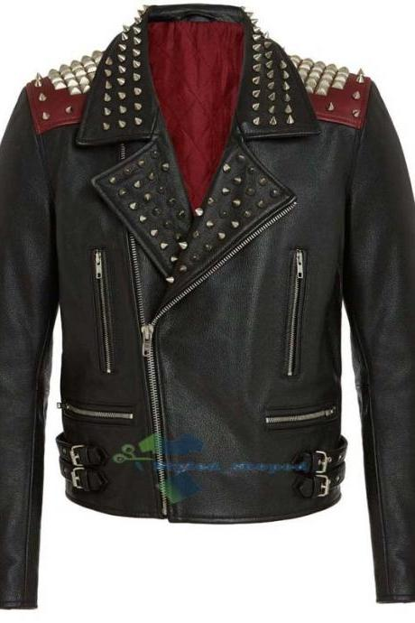 Handmade Men's Black Biker Motorcycle Pure Leather Silver Studded Jacket