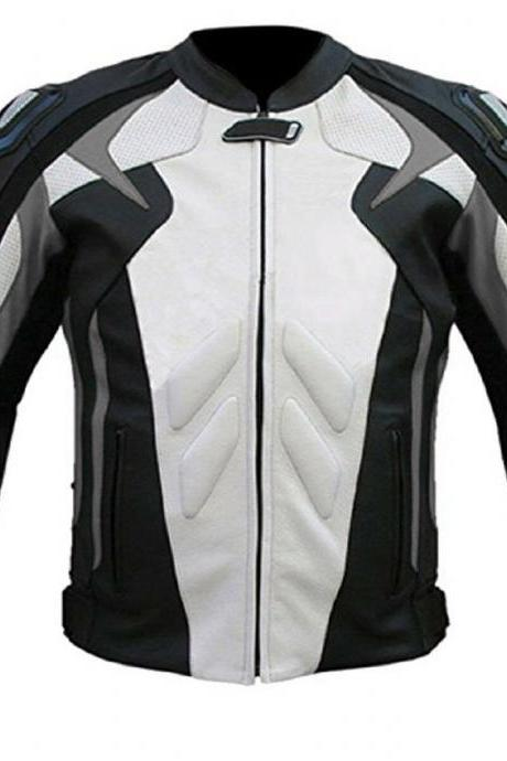 Handmade Men's Three Tone Color Black White Gray Motorbike Real Leather Safety Pads jacket